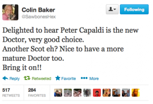 fonte: http://doctorwho.tumblr.com/post/57360208307/sawboneshex-delighted-to-hear-peter-capaldi-is