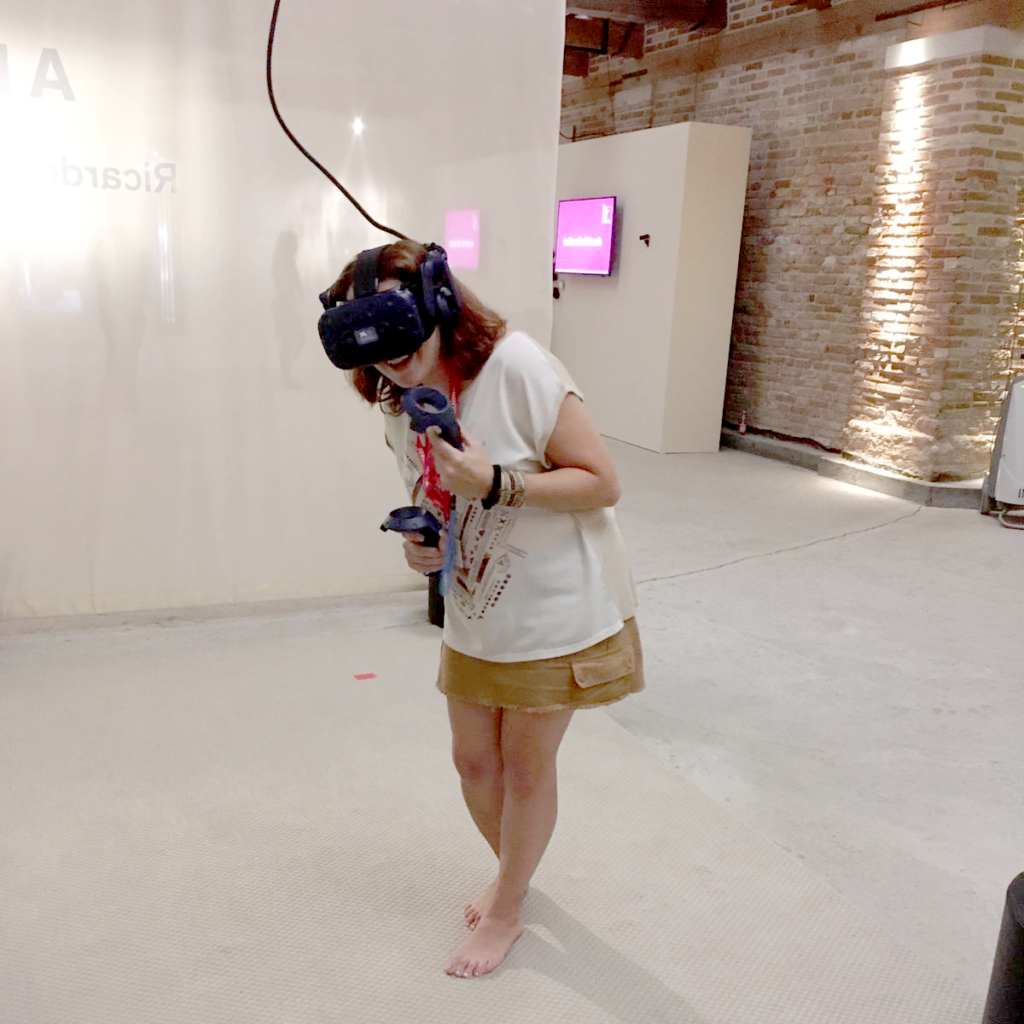 Playing with a headset at Venice